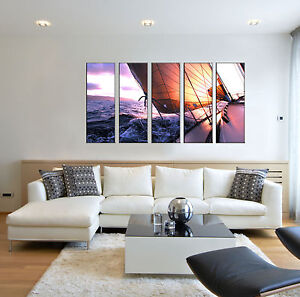Sailboat Seascape Sunset Ocean Canvas Wall Art Picture Print Home Decor Framed