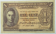 1941 Malaya KGVl 1 cent banknote CRISP very nice