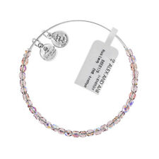 Alex and Ani Amethyst Rock Candy Beaded Silver Bangle BBEB178S - RRP £33