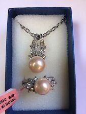 Size 9 Peach Shell Pearl Ring and Pendant
