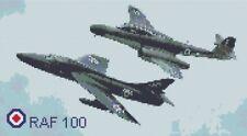 RAF 100 Hunter & Meteor Aeroplanes Cross Stitch Kit by Florashell