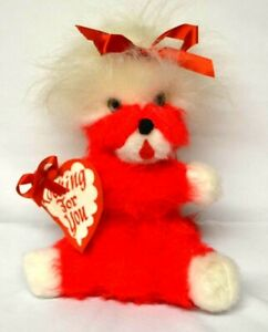 Vintage The Rushton Co. Red Valentine Plush Dog w/Ribbon and Cloth Heart