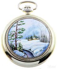 Molnija russische Taschenuhr mechanisch handbemalt 3602, Motiv: Winterwald