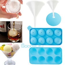 Round Ice Balls Maker Tray 8 Sphere Mold Cube Whiskey Cocktails Soap Mold