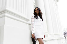 NWT Asilio 8 Back with a Vengeance White Crochet Lace Cocktail Sheath Dress