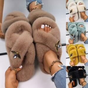 Faux Fur Slides Fluffy Slippers Rhinestone Insect Decor Casual Winter Shoes Heel