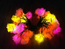 Led Romantic Flower Rose Light Pink Orange Yellow Decor Exterior Outdoor Long