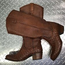 Frye Women's Leather Boots Weaved Brown Slip On Riding Western Shoe Size 6