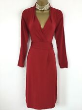 LK Bennett Dress 12 Used Red Stretch Jersey Fit Flare A Line Long Sleeved Party