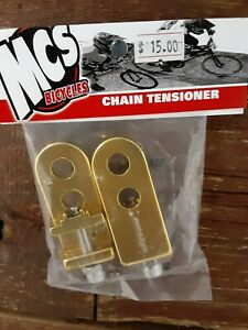 """MCS BMX COMPONENTS CHAIN TENSIONERS GOLD FOR 3/8""""AXLES"""