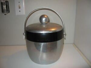 """Mid Century Kromex Aluminum Ice Bucket 1950's VGC 10"""" Height"""