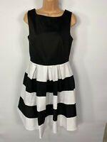 WOMENS DOLLY&DOTTY UK 10 BLACK/WHITE STRIPE 50'S VINTAGE ROCKABILLY SWING DRESS