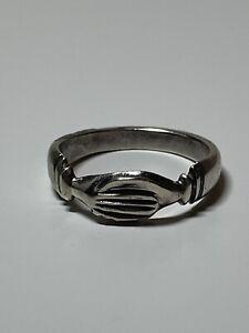 Vintage Sterling Silver Fede Gimmel Friendship Holding Hands Ring