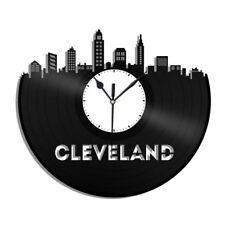 Cleveland Ohio Vinyl Wall Clock City Skyline Unique Gift Home Room Office Decor
