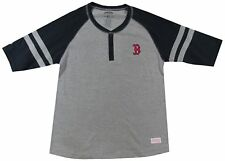 BOSTON RED SOX GRAY COLORBLOCKED HENLEY SHIRT STITCHES GIRL'S L NEW SEWN MLB FS