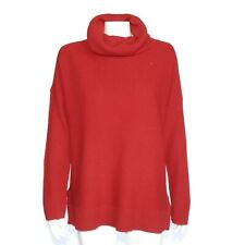 Talbots 100% Cashmere Wide Turtleneck Red Sweater Waffle Knit  Womens XL / 158