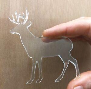 Clear Acrylic Christmas Reindeer Shape x 10, 3mm Acrylic Perspex Shape All Sizes