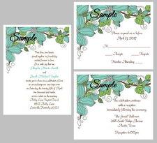 100 Personalized Custom Teal Corner Floral Vintage Wedding Invitations Set