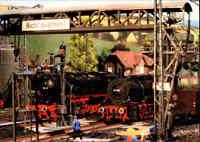 """Eisenbahn Motiv-AK Verlag Bild Heimat Reichenbach """"Zu Besuch im Dampflok-Bw"""""""