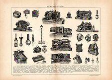 Stampa antica ELETTRICITA' telefono microfono dinamo treno altro 1910 Old print