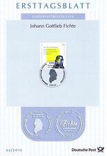 BRD 2012: Johann Gottlieb Fichte! Ersttagsblatt der Nr. 2934! Stempel Bonn! 1602