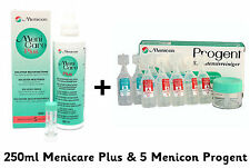 Menicare Plus solución de lentes de contacto 250ml y 5 Limpiador intensivo Menicon Progent
