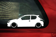 2x Low car outline stickers - for Peugeot 206 HDi / GTi / Rc 3-door