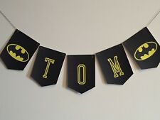Batman Bunting Personalised Ideal Parties Boys Bedroom Handmade Black Yellow up to 10 Letters