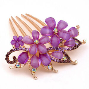 NEW Fashion Flower Crystal Rhinestone bride Hair Comb Clip- Purple