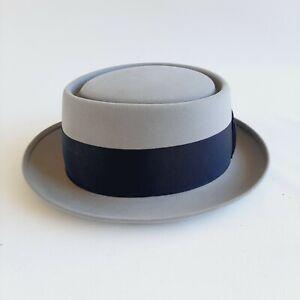 John B. Stetson Royal Deluxe Stetson 6 7/8 Felt Hat Pork Pie vintage gray 1957