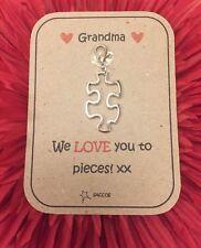 Mothers Day Grandma Nanny Gift Jigsaw Personalised Key ring Clip Charm Saccos