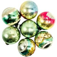 Vintage Shiny Brite Christmas Ornaments Metallic Multicolor Bulbs Lot of 7 Balls