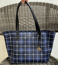 Kate Spade Hawthorne Lane Ryan Plaid Diver Blue Tote Bag Navy PXRU7133