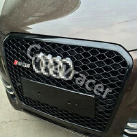 Black Front Mesh Honeycomb Grille Grill for Audi Q5 SQ5 2013-2015 To RSQ5 Style