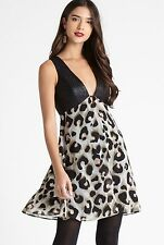NEW BCBGeneration Empire Cut Out Dress in Leopard Print, Black, Size 8, RRP £94