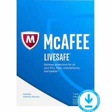 McAfee LIVESAFE 2017 più recenti dispositivi illimitati PC MAC ANDROID IOS 1 anno di licenza