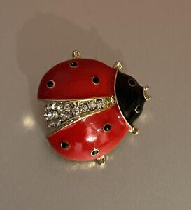 Talbots Gold Tone Shiny Red Enamel  Crystal Ladybug Brooch Pin