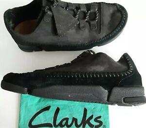 Clarks ORIGINALS Soft Black Suede Leather Moccasin Shoes Trigenic Soles size 4