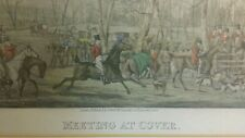 Antique 1824 HENRY THOMAS ALKEN Aquatint Engraving - Meeting at Cover - Fox Hunt