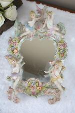 Vtg German 1970's Porcelain majolica floral putti cherubs angels wall mirror