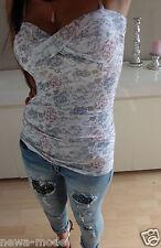 Shirt Weiß Flower Neu S M Top Bandeau Blumen Baumwolle 36 Blogger Trend Italy 36