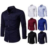 Mens Dress Shirts Long Sleeves Business Work Camisas Slim Fit Multicolor EC6544
