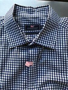 Vineyard Vines Classic Fit Tucker Blue & White Check Shirt XL Button Down