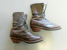 "Chippewa ""Packer"" dark brown leather, lace up boots, Men's 9.5 2E made in USA!"
