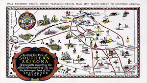 "Early Map Southern Arizona Mesas 9""x16"" Wall Poster Art Print History Genealogy"