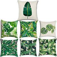 "18"" Green Tropical Plant Pillow Case Cotton Linen Sofa Cushion Covers Home Decor"