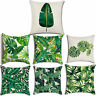 Green Plant Pillow Case Leaves Cushion Cover Tropical Cotton Linen Home Decor