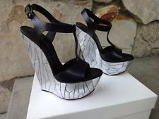 Casadei Skyhigh Black Leather & Mirror Platform Sandals EU Size 8