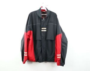 Vintage 90s Asics Mens Large Spell Out Lined Color Block Windbreaker Jacket