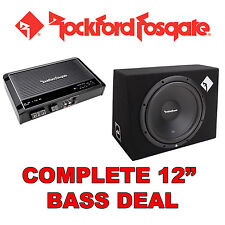 "ROCKFORD FOSGATE 12 ""CAR SUB SUBWOOFER BASS BOX + Amplificatore / Amp + Kit di cablaggio"
